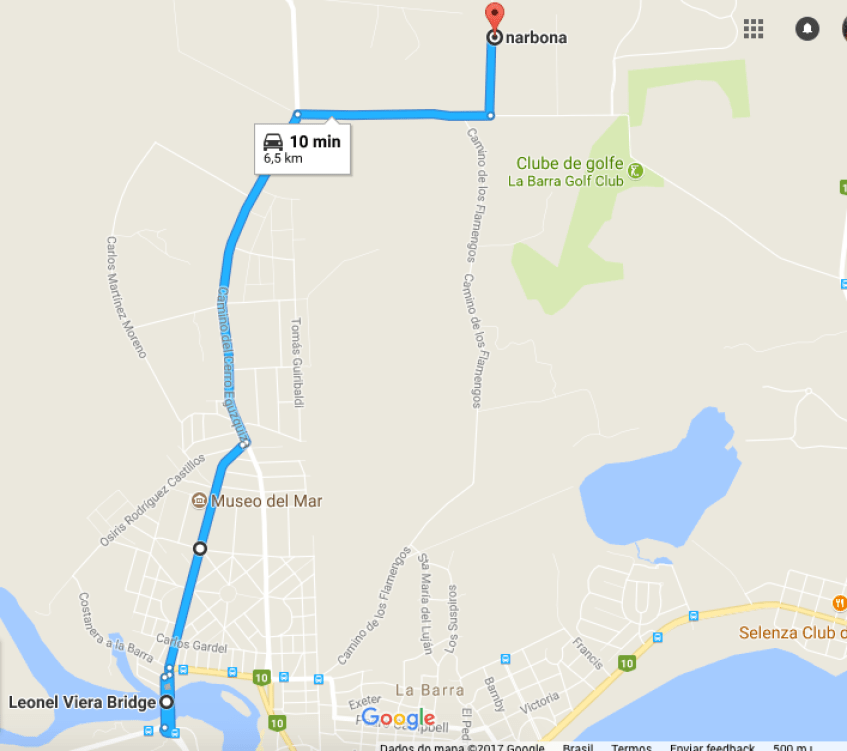 Mapa Narbona - La Barra Uruguai