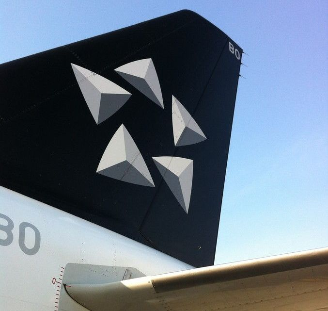 Pintura Star Alliance no avião da TAM