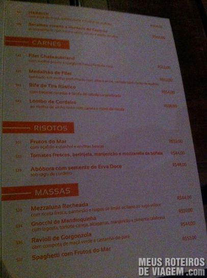 Cardápio do restaurante Lafayette - Salvador