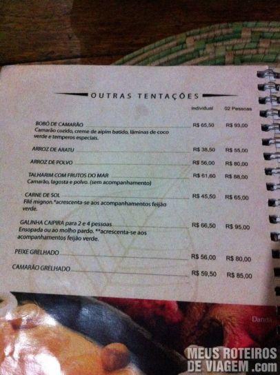 Cardápio do Restaurante Paraíso Tropical - Salvador