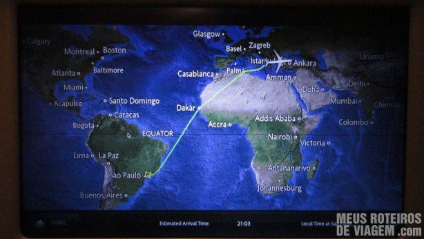 Mapa da rota da Turkish Airlines para Istambul