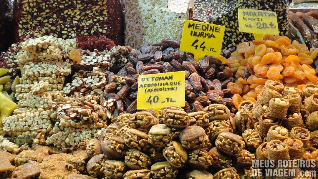 Doces Turcos no Bazar de Especiarias - Istambul, Turquia