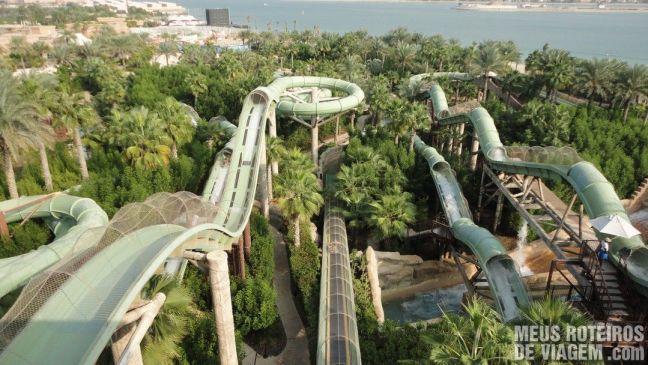 Tobogãs do Parque aquático Aquaventure - Atlantis The Palm, Dubai