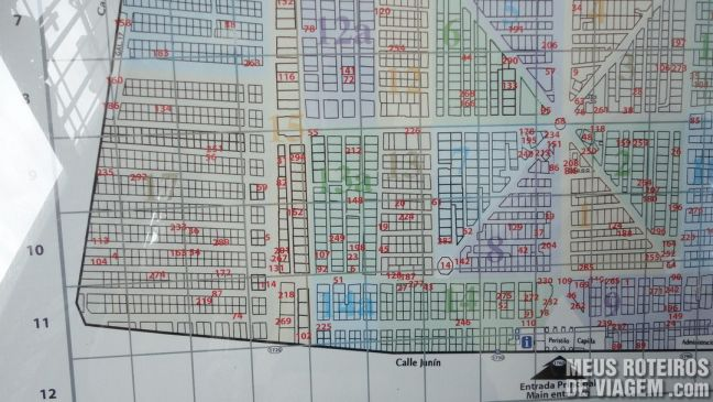 Mapa do Cemitério da Recoleta - Buenos Aires, Argentina
