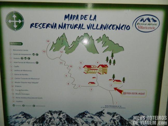 Mapa da Reserva Natural Villavicencio - Mendoza, Argentina