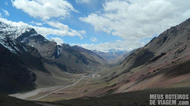 Ruta Nacional 7 vista da estrada para o Cristo - Cordilheira dos Andes, Argentina