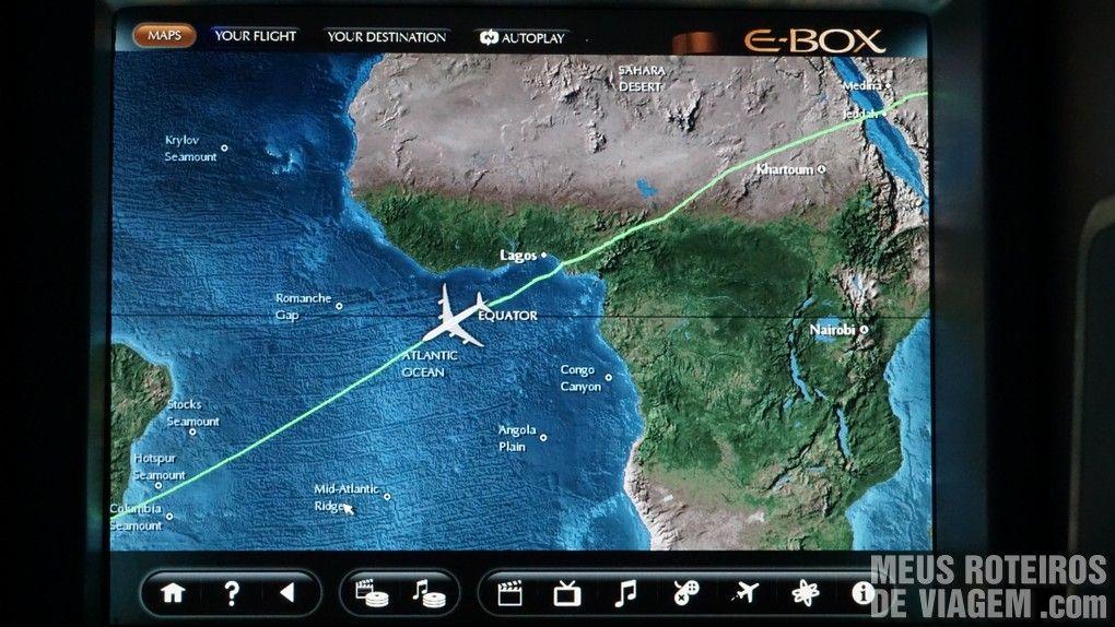 Trajeto do voo entre Abu Dhabi e São Paulo