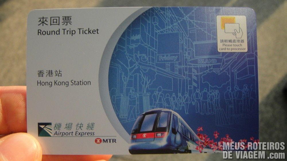 Ticket de acesso ao trem Airport Express Hong Kong
