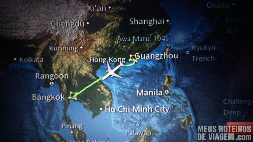 Mapa da rota entre Hong Kong e Bangkok