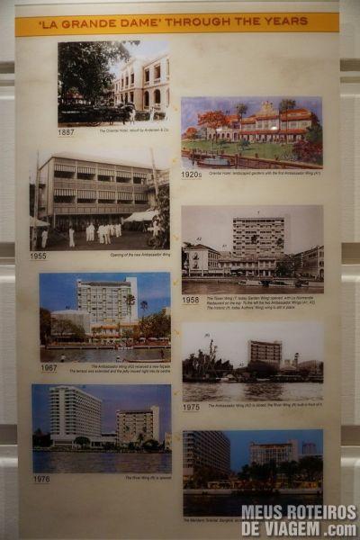Mural com a história do hotel