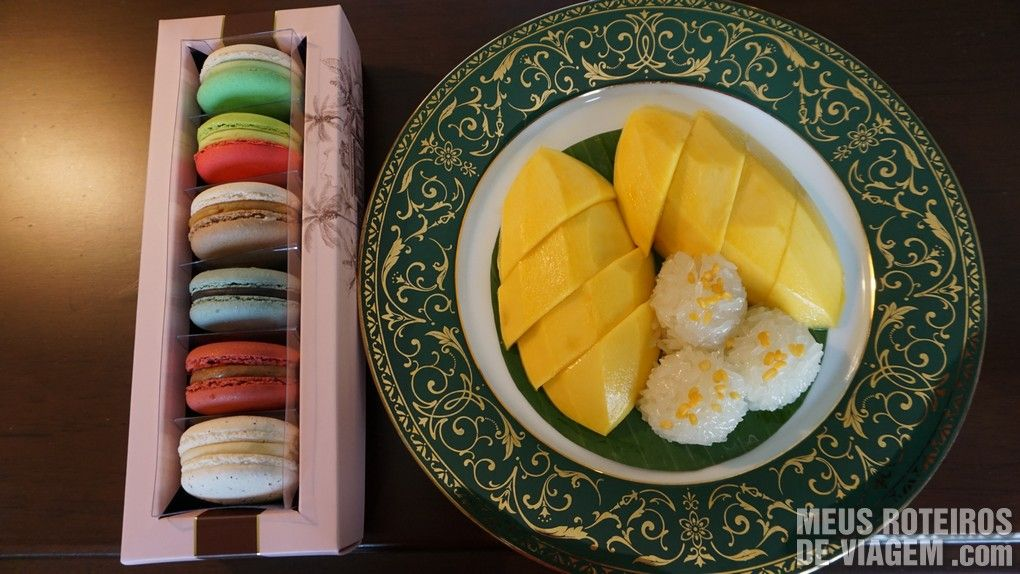 Macaroons e sobremesa típica da Tailândia