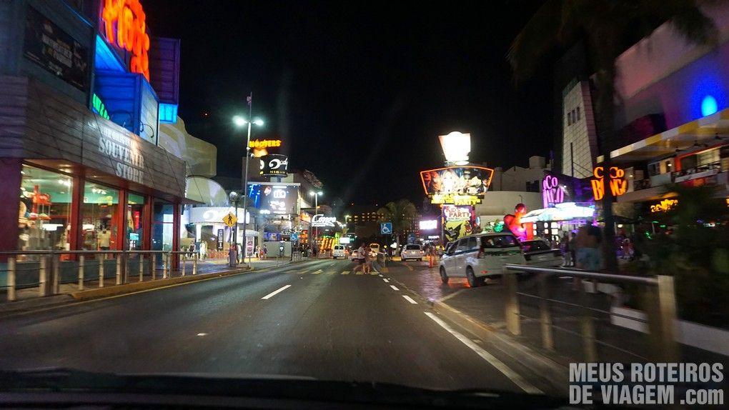 Região das boates na zona hoteleira de Cancun