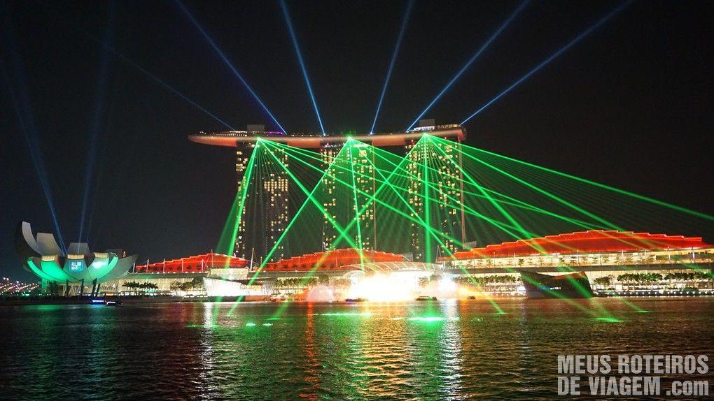Show de laser no hotel Marina Bay Sands - Cingapura