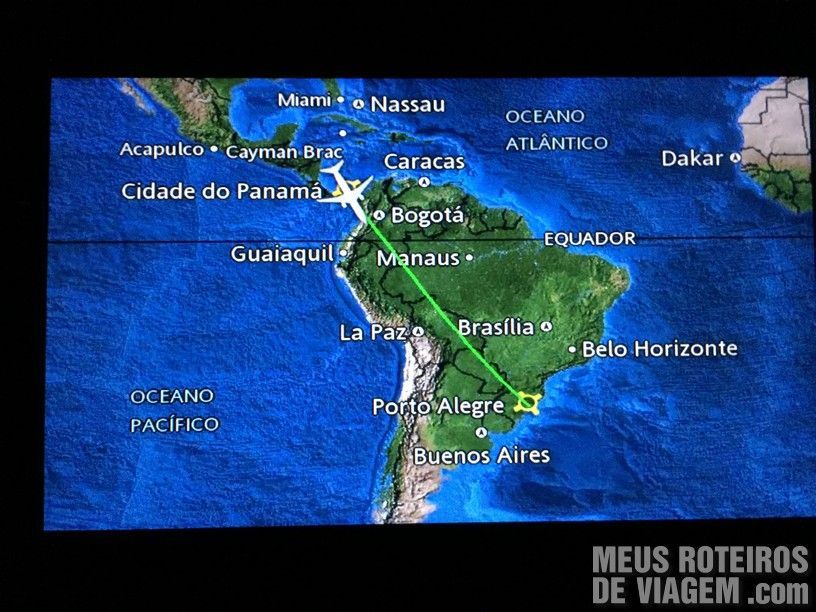 Rota do voo da Copa Airlines do Panamá ao Brasil