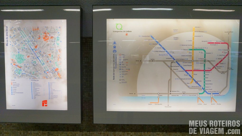 Mapa do metrô na estação - Lisboa