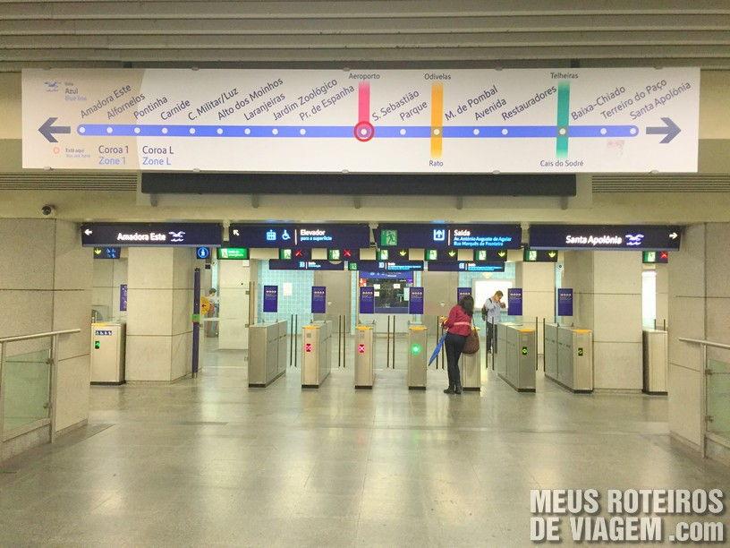 Mapa da linha de metrô na entrada da estação - Lisboa