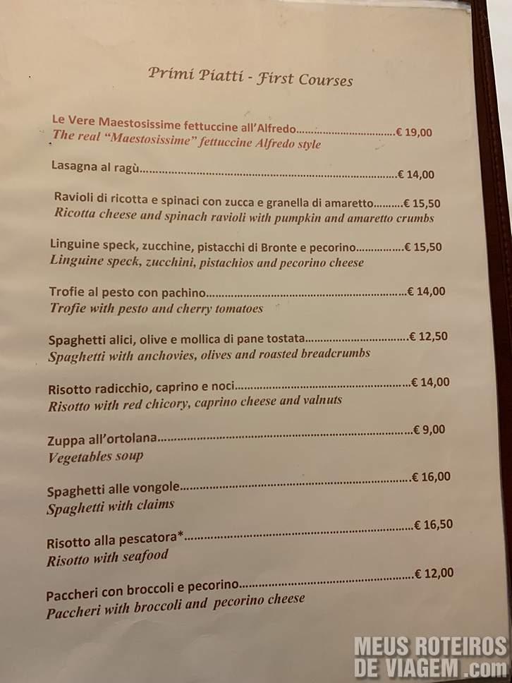 Menu Primi Piatti no Il Vero Alfredo Roma