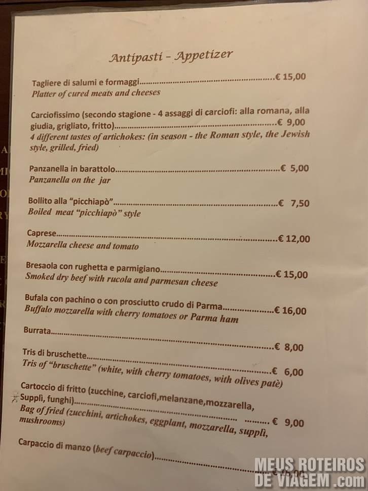 Menu Antipasti no Il Vero Alfredo Roma