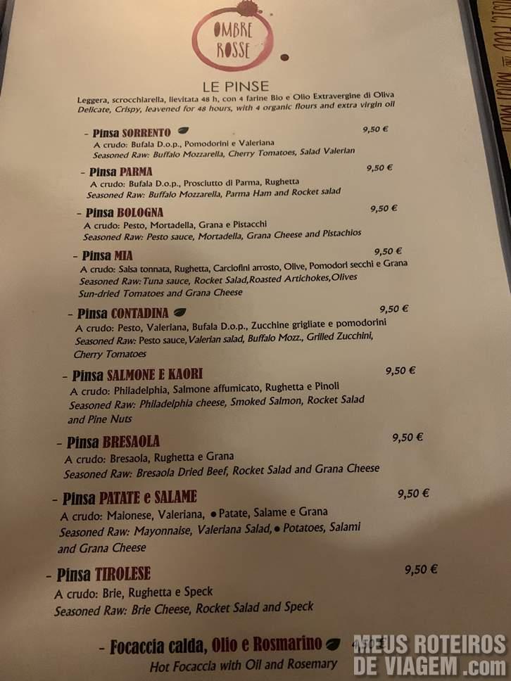 Menu Ombre Rosse Roma