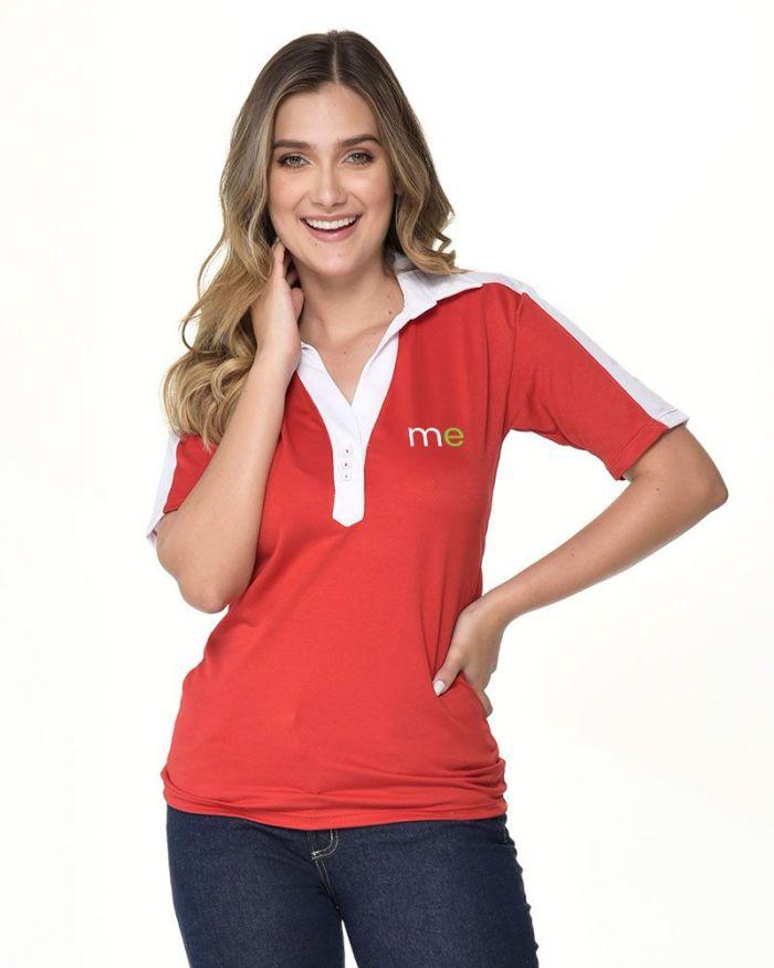 camisa tipo polo roja de cuello blanco de dama p10-2
