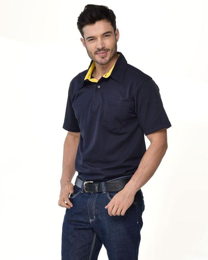 camisa tipo polo azul con cuello amarillo p27-2