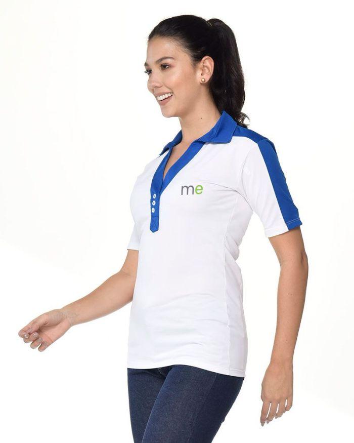 camisa tipo polo cuello y manga azul rey de dama p8-2