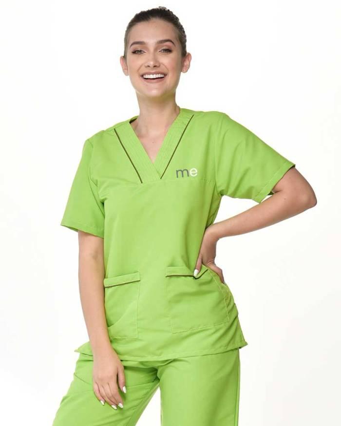 uniforme verde limon de dama antifluido s13-4