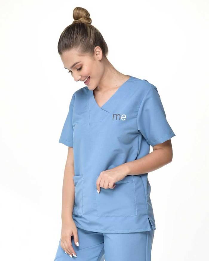uniforme antifludo azul de dama con bolsillos s18-2-