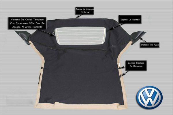 Capota Top Convertible Con Ventana De Cristal Para Volkswagen Golf / Cabrio