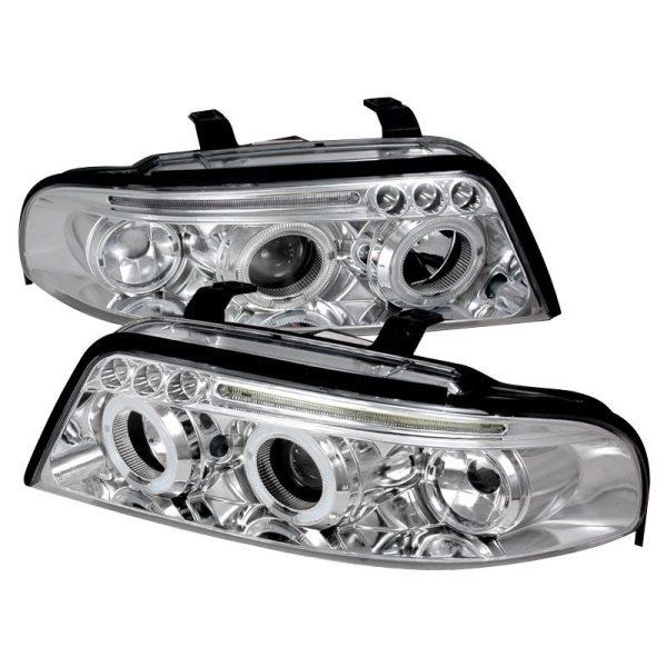 Faros De Lupa + LED Cromados Para Audi A4 1999 - 2001