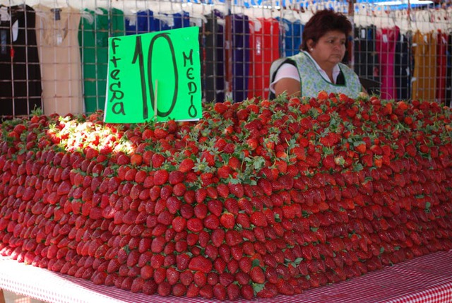 Fresh strawberries for sale at the Tuesday Market in San Miguel de Allende, Mexico © John Scherber, 2013