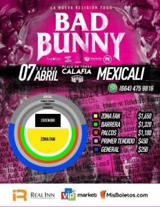 precios bad bunny mexicali