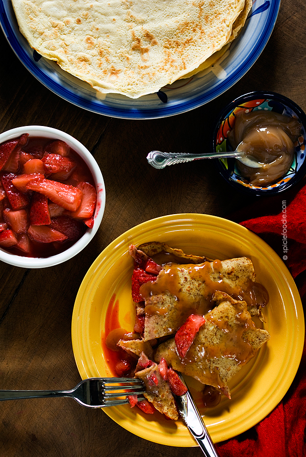 #Crepes Stuffed with Warm #Strawberries and Drizzled with Mexican #Cajeta | #dulcedeleche #dessert #breakfast #glutenfree