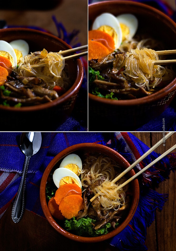 Miso Noodle Soup Spiced with Sriracha| #miso #vegetarian #spicy #souprecipe