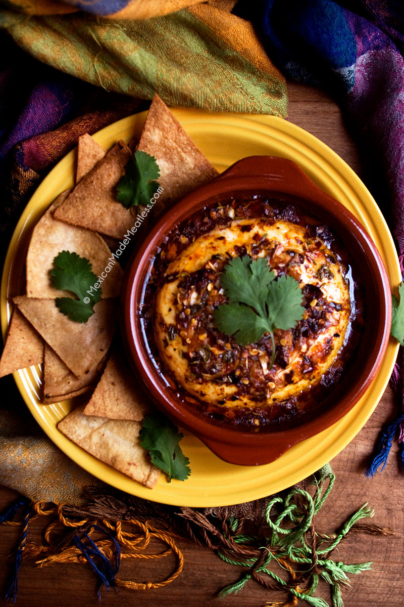 Baked Panela Cheese with Herbs and Pepper Flakes | #mexican #appetiser #glutenfree