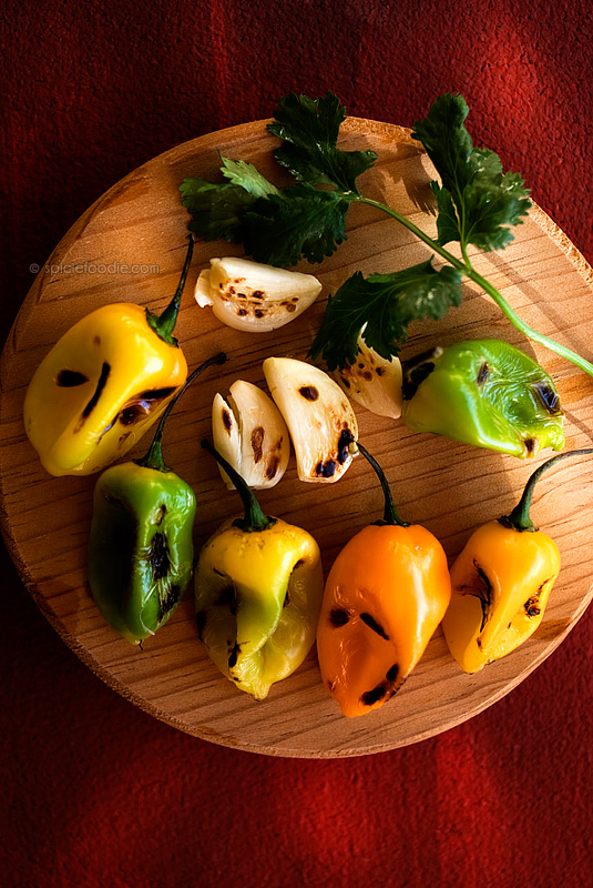 Charred Habanero-Garlic and Cilantro Salsa   #salsa #habaneros #Mexican #tacos