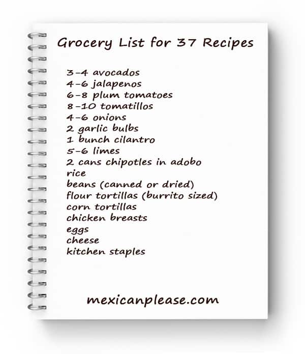 easy grocery list for 37 mexican recipes