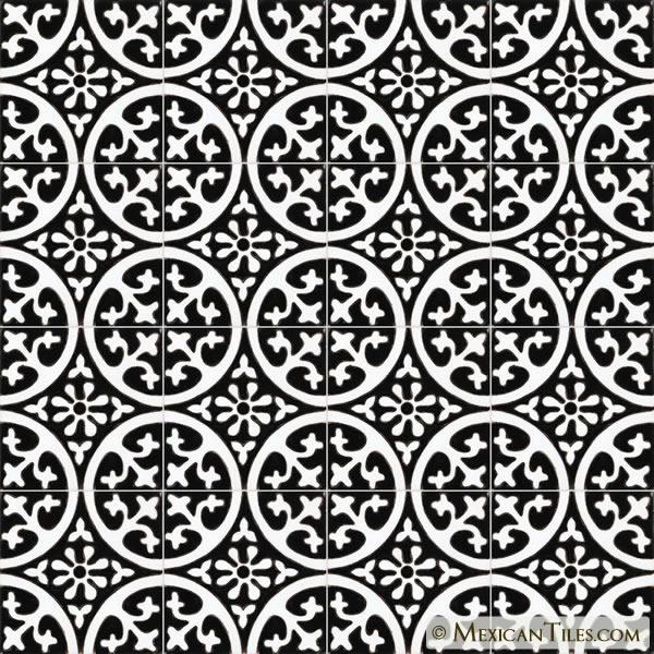 mexican tile la quinta black white