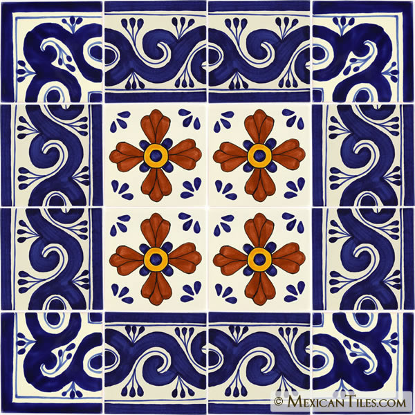 mexican tile set of 16 6 x 6 mexican
