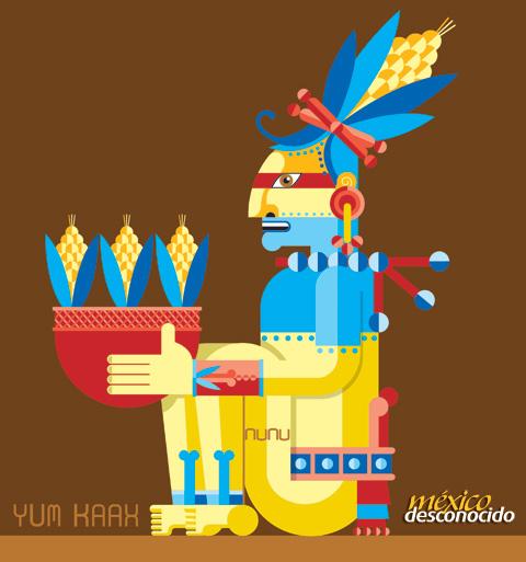 Yum kaax, dios maya del maíz / Ilustración: Oldemar