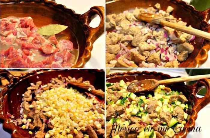 Receta deliciosa de calabacitas con puerco y elote, instrucciones paso a paso