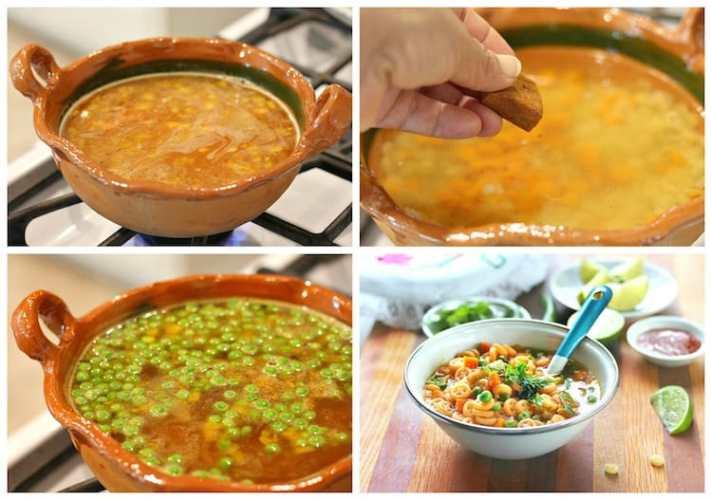 Sopa de pasta fácil con verduras.