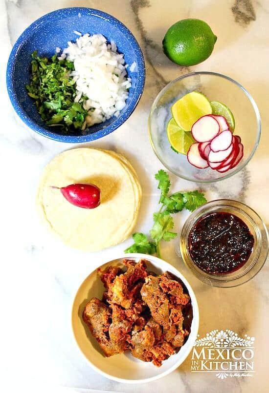 Tacos de Chorizo, todos los ingredientes