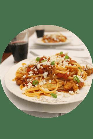 Espagueti con Chorizo, listo para comer