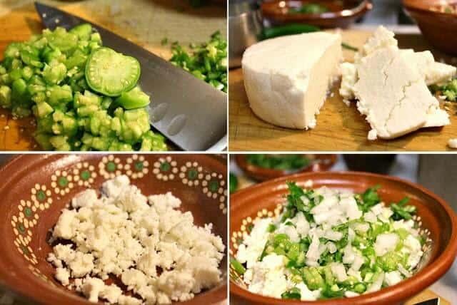 Queso fresco en salsa verde, instrucciones paso a paso