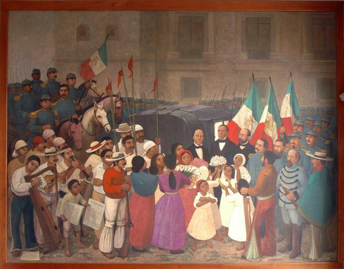 Resultado de imagen para Foto de la entrada triunfal a la Ciudad de México (México), de Benito Juárez