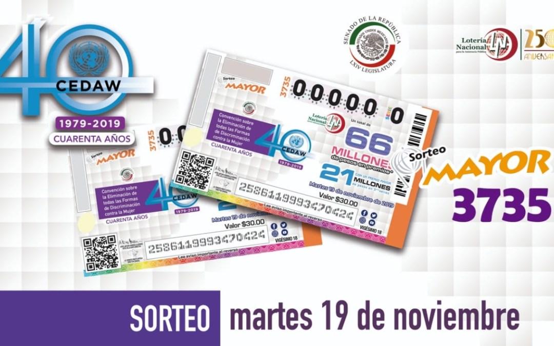 Emite Lotería «cachito» conmemorativo eliminar discriminación a la mujer