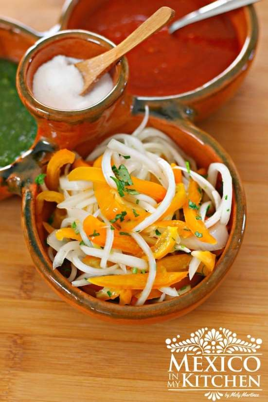 Pickled Manzano peppers with onion