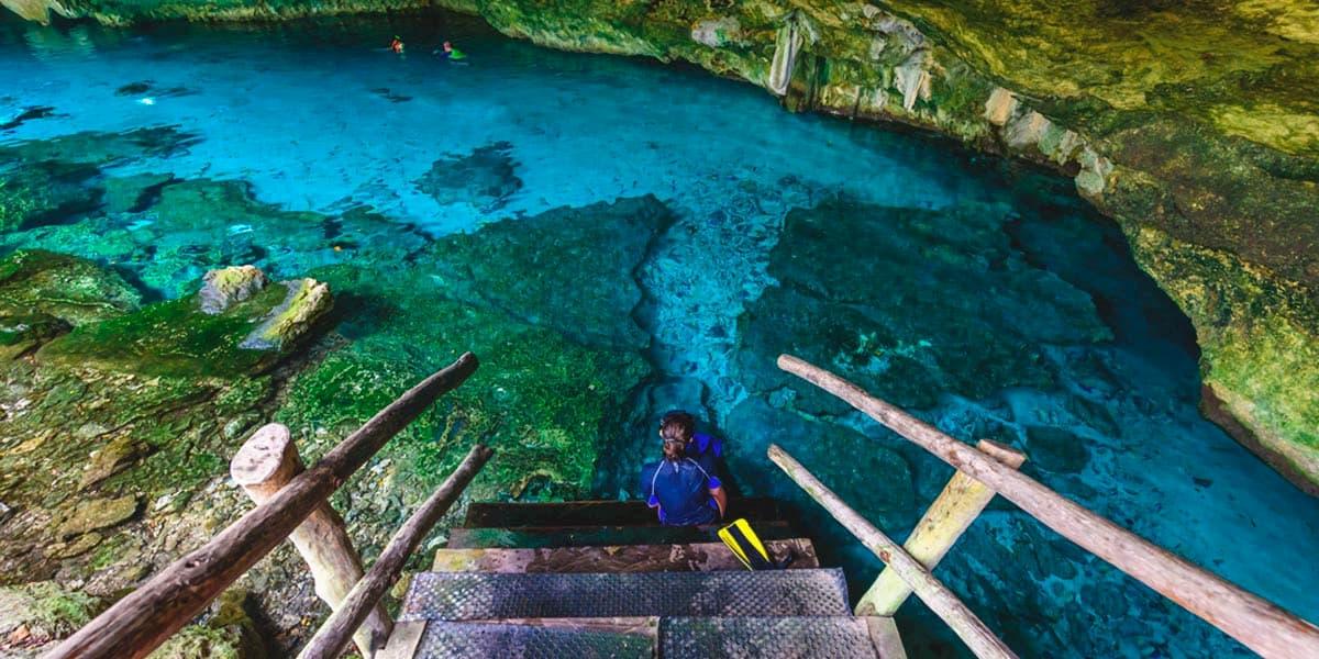 sat mexico tours and travel swim cenote dos ojos