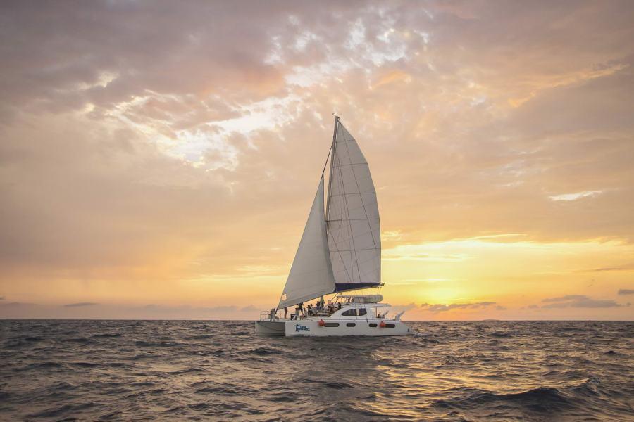 riviera catamaran sunset